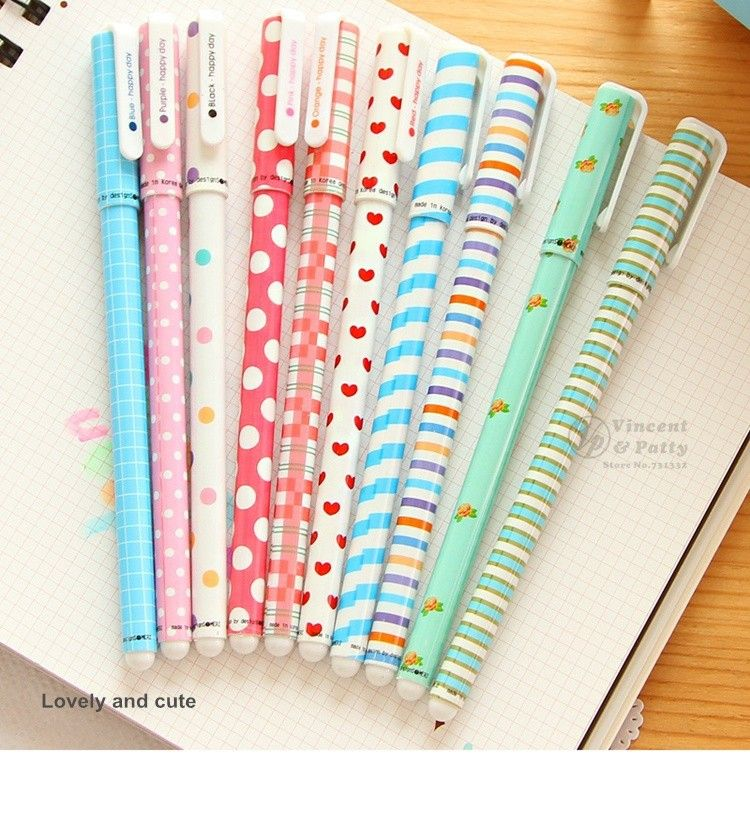 1Pc 0.5mm Assorted Color Gel Ink Pen Stationary Diary Drawing School Supply Stri