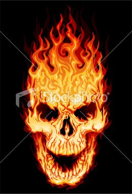 Flaming Skull With Mouth Open 5 Spot Colors Plus Black All Major