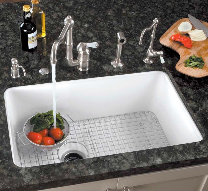 cast kitchen sink in double shop basin undermount commercial pd white iron deerfield residential x kohler