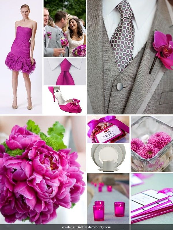Gray And Fuschia Images Love The Orchid Boutonnieres Hot Pink Votives
