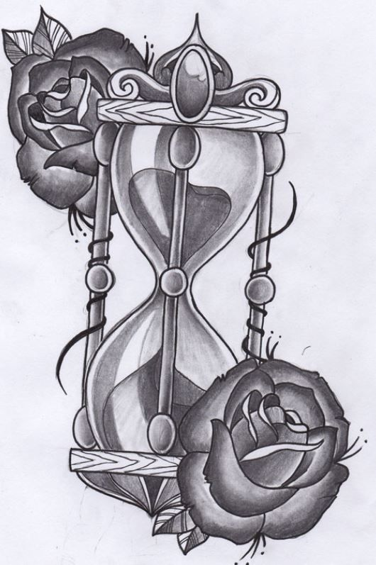 Favoloso Disegno per tatuaggio clessidra con rose | Tattoo - Tatuaggi  XL21