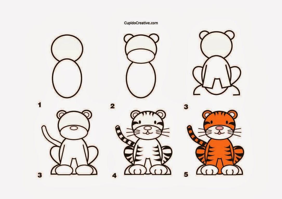 Kerajinan Anak Tksd Langkahcara Menggambar Harimau Mewarnai