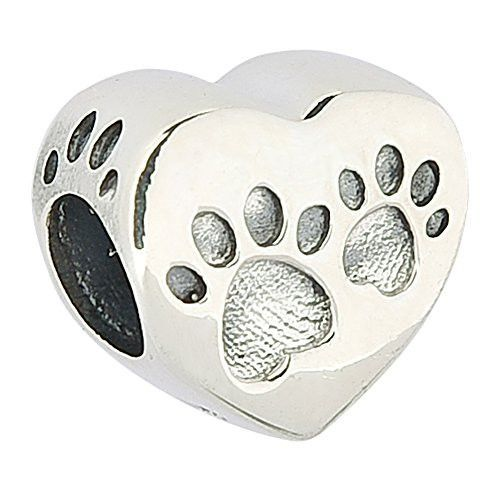 Love Heart Dog Paw Print Authentic 925 Sterling Silver Bead Animals   Pets  Charm Bead Fits Pandora Charms be1fbb6771