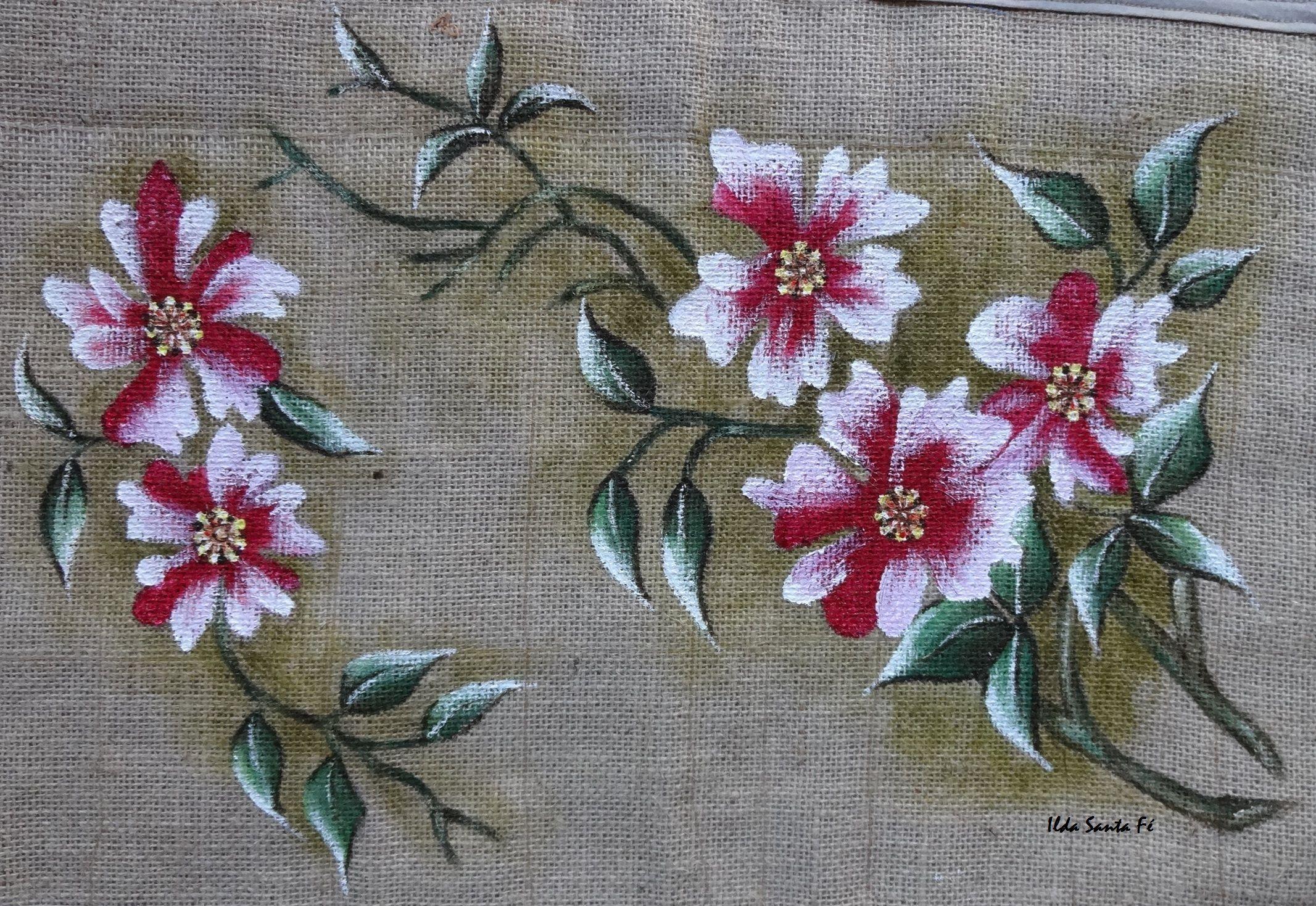 Flores (Tapete em tela de juta)