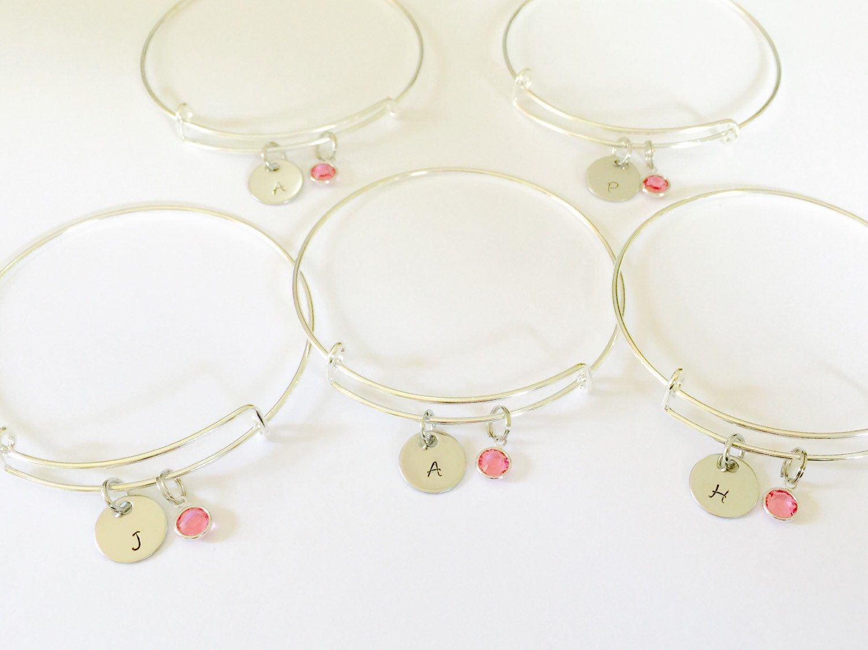 Bridesmaid gifts / Maid of honor / flower girl wedding Charm Swarovski crystal or pearl on a Silver adjustable Bangle