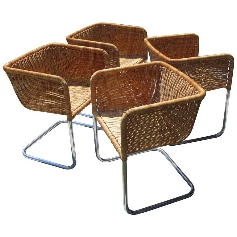 71ae6081bff67 Set of Four Chrome and Wicker Chairs by Fabricius and Kastholm