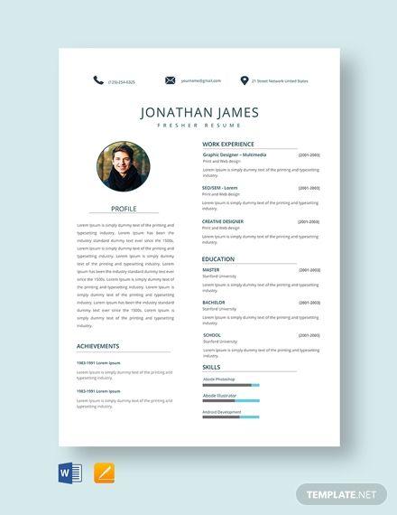 free it fresher resume