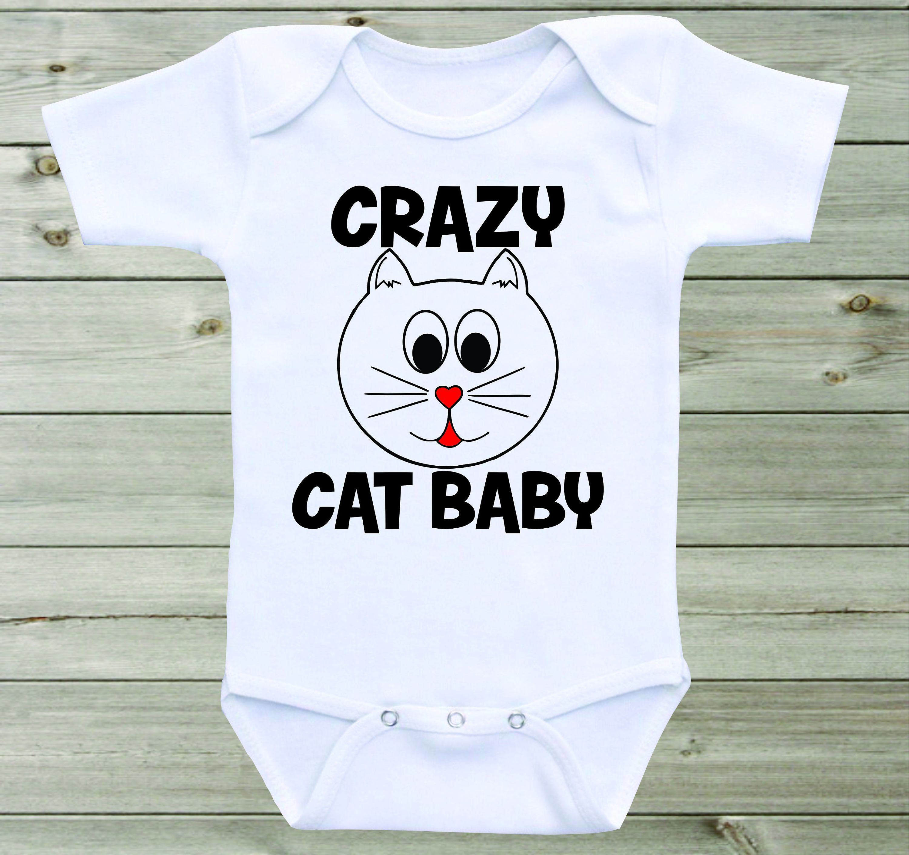 2d1573f510ee Crazy Cat Baby Onesie Funny Baby Saying Gender Neutral Baby Shirt ...
