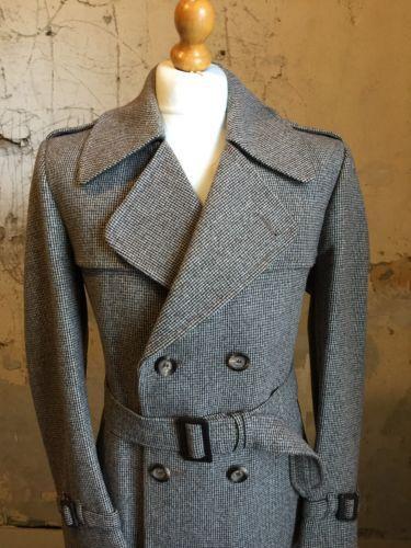 VINTAGE-anni-1970-Con-Cintura-MAC-Cappotto-tweed-tg-40-42