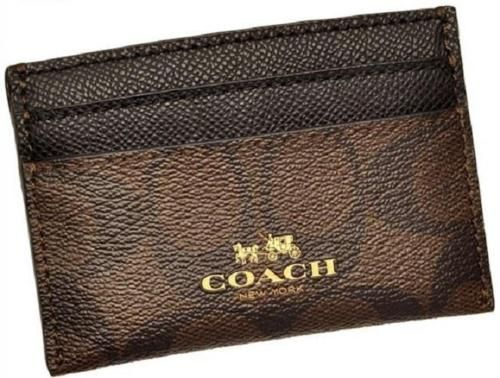 Coach f63279 brown black signature coated canvas card case holder coach f63279 brown black signature coated canvas card colourmoves