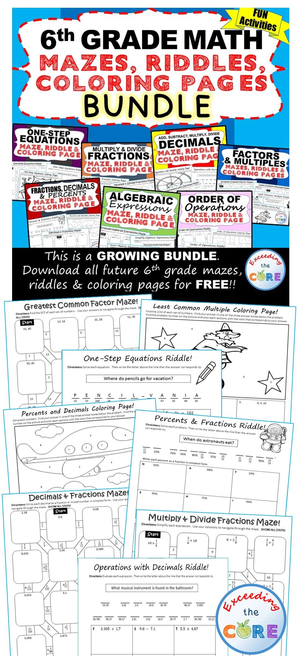 Fun coloring activities for middle school - Let Your Students Have Fun While Practicing The 6th Grade Math Curriculum With These Math Mazes