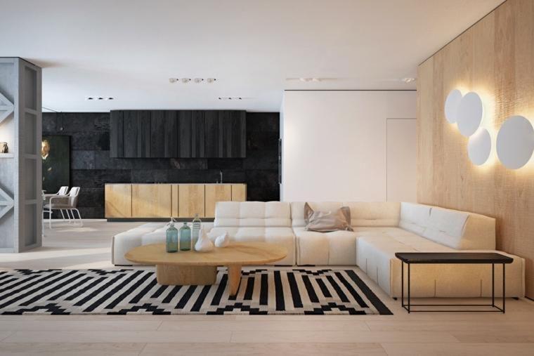 Innenarchitektur Die Holz Und Schwarzweiss Farben