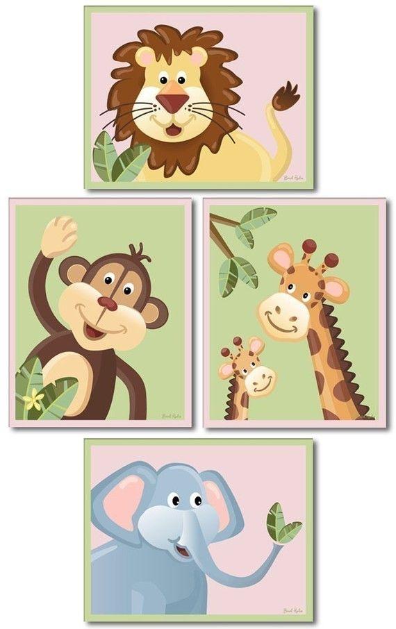 Jungle Animals Nursery Wall Art Baby Nursery Decor Prints, Kids Wall ...