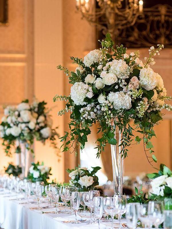 trumpet vase wedding reception centerpiece in Lagos Nigeria wedding decoration