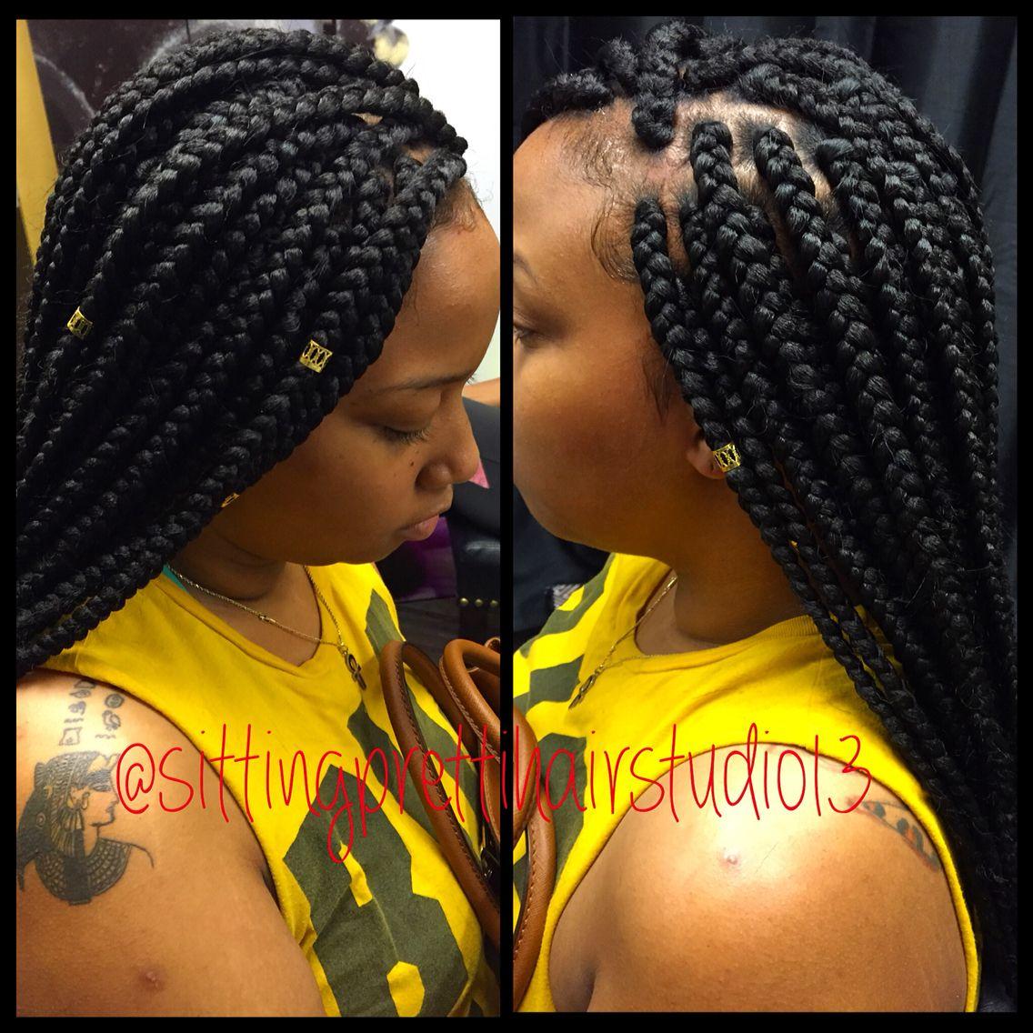 Box braids Thick braids Poetic justice braids Gold beads ...