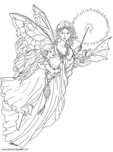 Coloring page light fairy