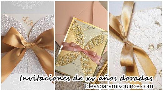 5b432ee97 25 diseños de Invitaciones para xv años color dorado Pasteles para xv años  en color coral