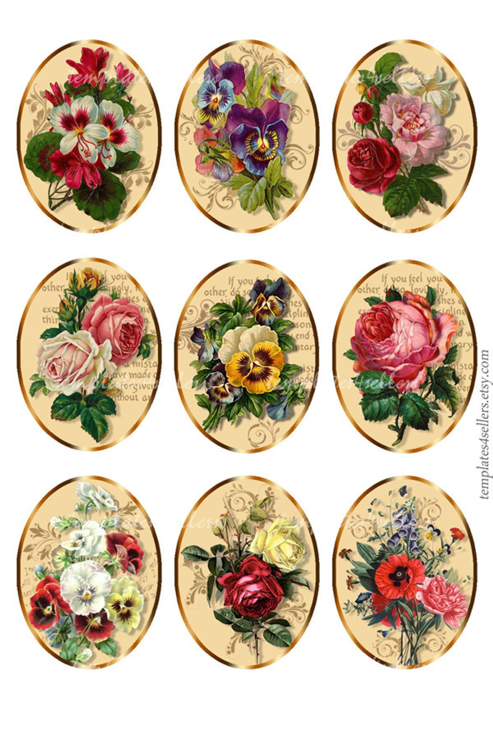 Vintage Backgrounds 30 x 40mm Ovals for Jewelry Pendants Digital Collage Sheet Download 880 Instant Download Printables