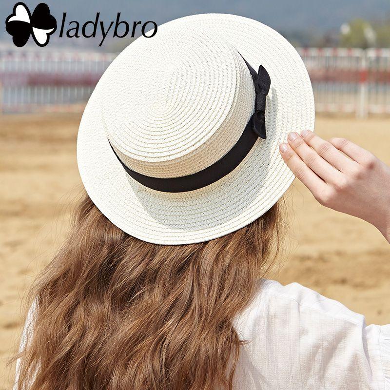 f4df6c34 Ladybro 2017 Summer Women Boater Beach Hat Female Casual Panama Hat Lady  Brand Classic Bowknot Straw Flat Sun Hat Women Fedora