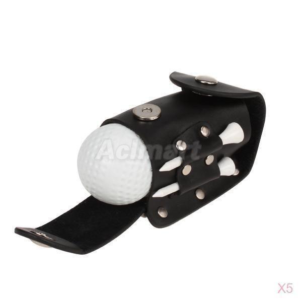 5x Set 2 Golf Ball 2 Tee Holder 1 Leather Pouch Golfer Club Clip