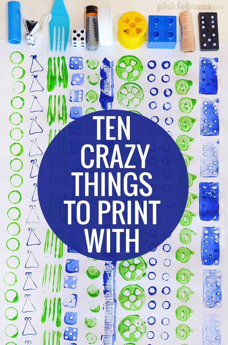 Ten crazy things to print with! An easy art activity for kids!