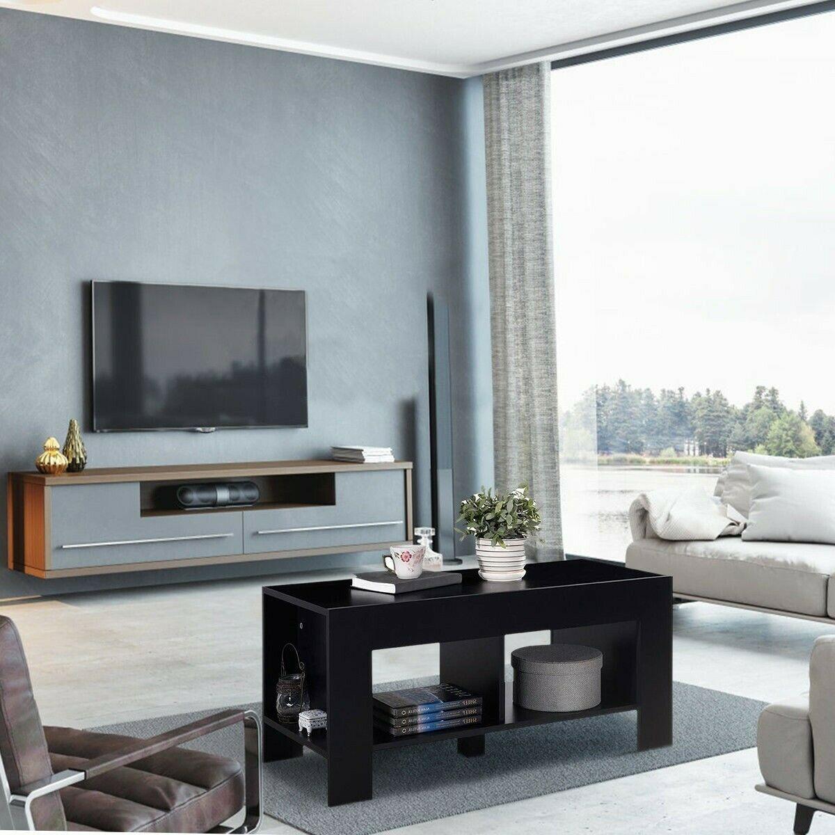 2Tier Living Room Rectangle Coffee Table Sofa Side Table