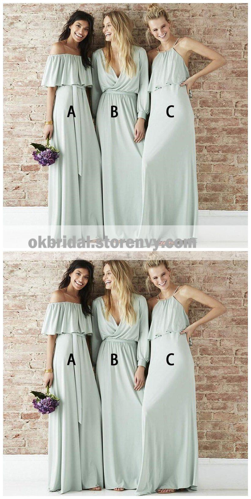 Mismatched chiffon light green long bridesmaid dresses online wg