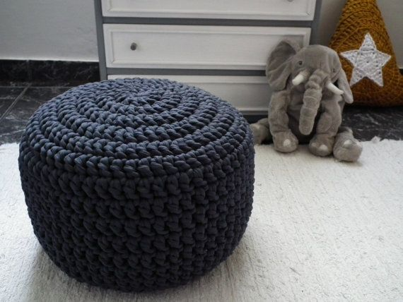 Black Crochet Pouf Ottoman Large Round