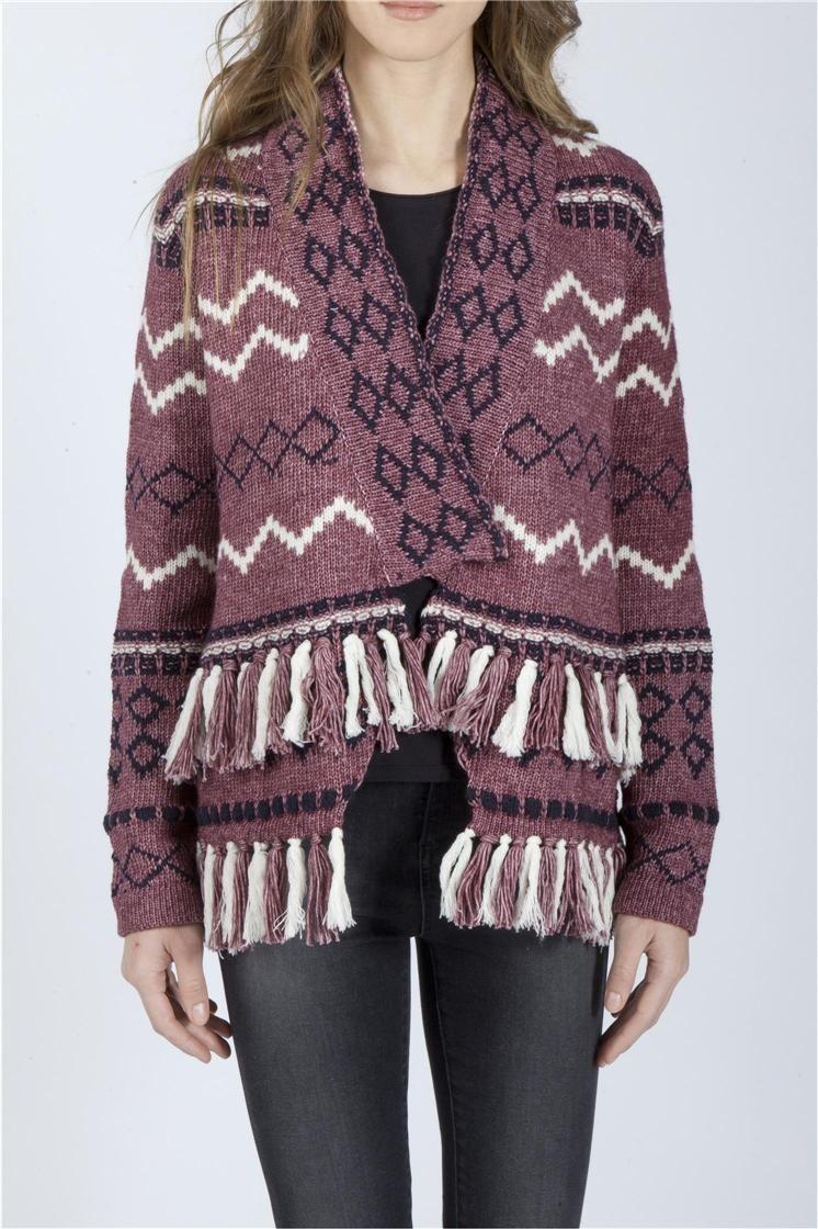 Jacquard cardigan with fringes. 43% wool 57% cotton 45% viscose 5% angora 10% cotton.