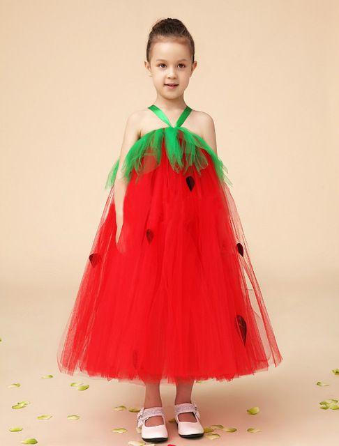 Cute Kids Watermelon Design Red Flower Girls Dresses for Weddings ...