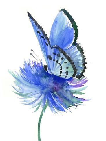'Blue Butterfly' Giclee Print - Suren Nersisyan | Art.com