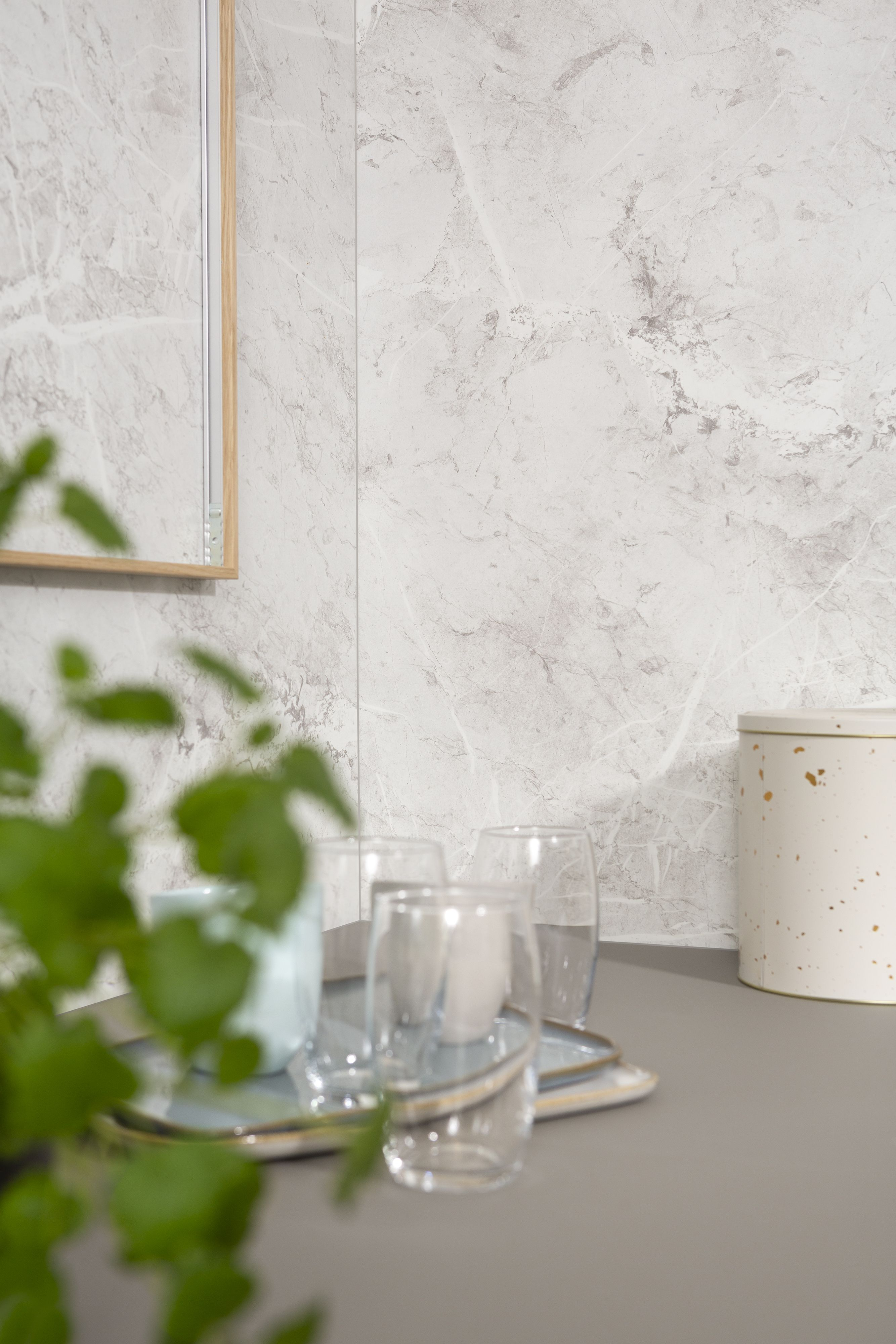 Fibo Wall Panel White Marble Kjokkenplater Design Paneler Decorative paneling for bathrooms
