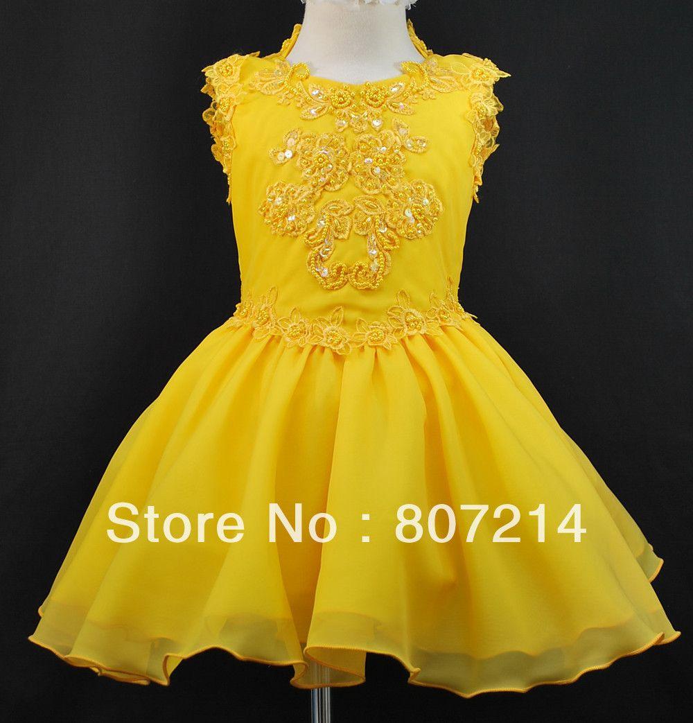 Inanttoddler u girl pageant flower girl formal short dress yellow