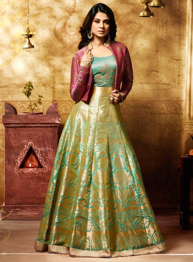 69058b2043 Jennifer Winget Light Green Banarasi Jacket Style Floor Length Anarkali  Suit 105129