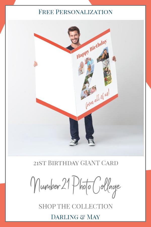 Happy Birthday 21st Milestone Photo Collage Huge Card Zazzle Com 21st Birthday Cards 21st Birthday Happy 21st Birthday Messages
