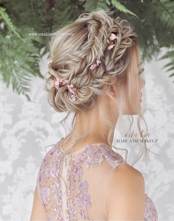 Bohemian crown braids with pastel Color flowers Bohemian crown braids with pastel Color flowers