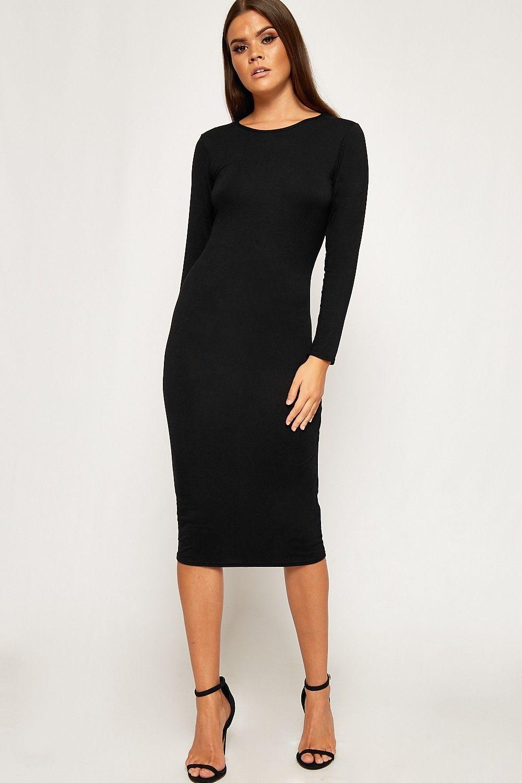 Jen midi long sleeve bodycon dress in halloween pinterest