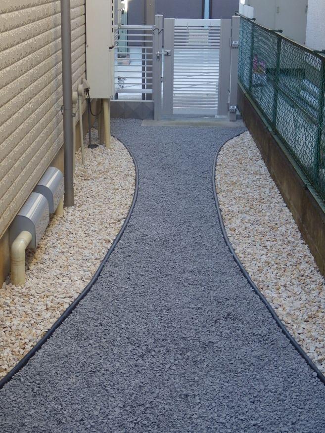 山田造園 流山市 雑草対策 2種類の砂利を使用したデザイン 施工例