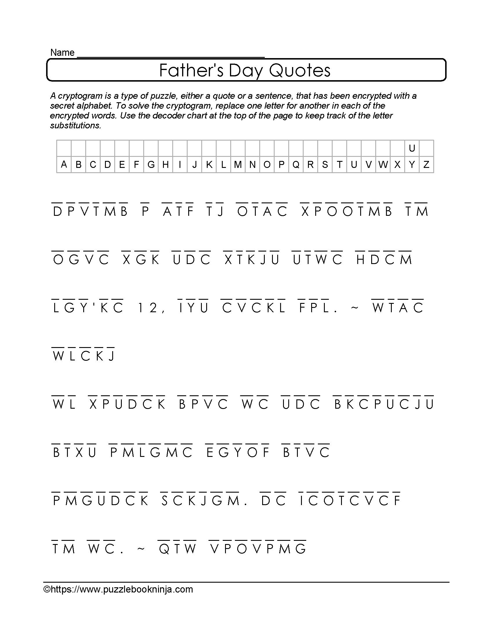Free And Printable Father S Day Cryptogram Quotes About