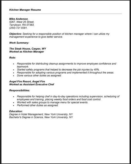 Kitchen Manager Resume Template -   jobresumesample/1847