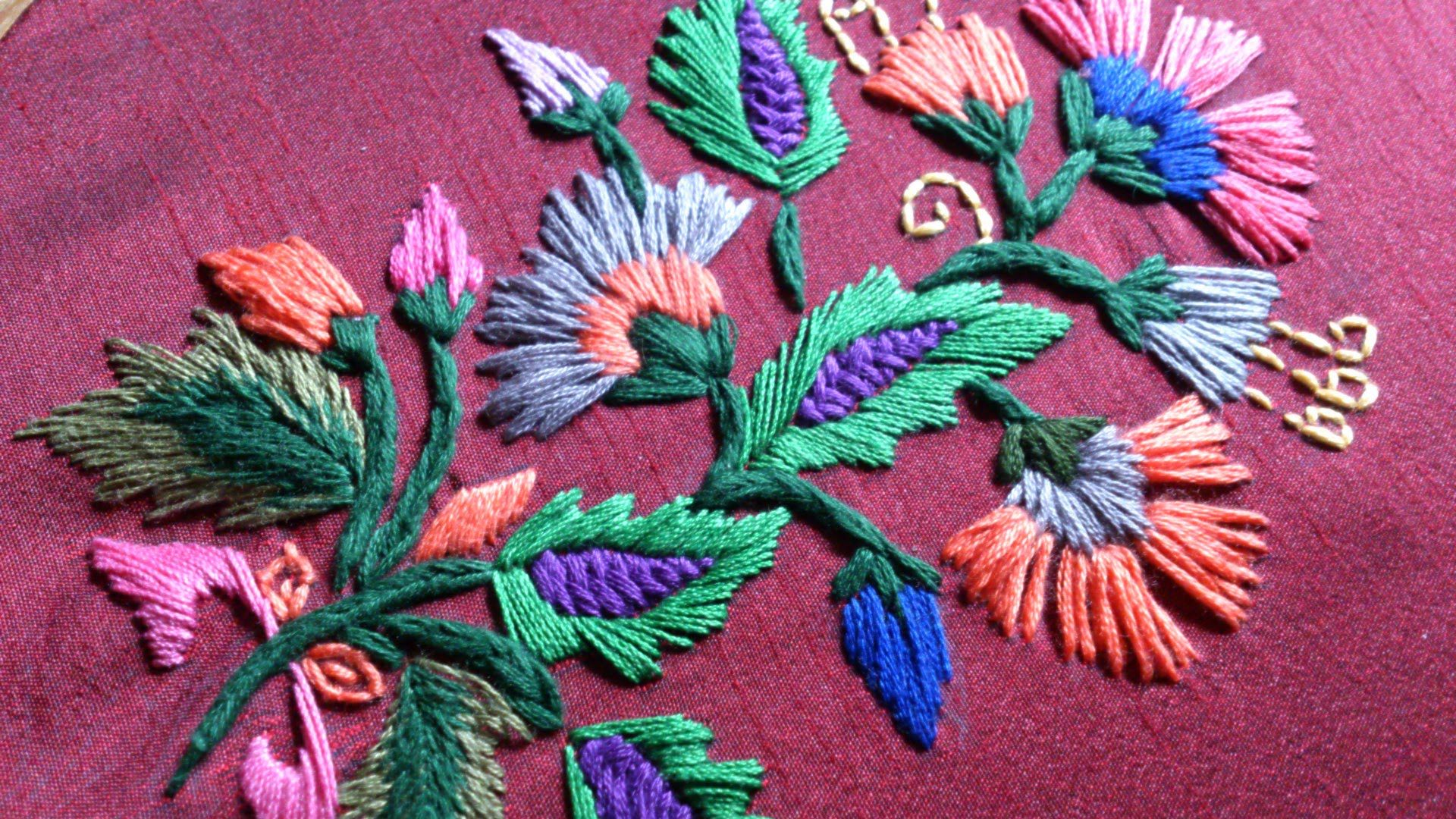 Hand Embroidery Satin Stitch Leishas Galaxy Youtube