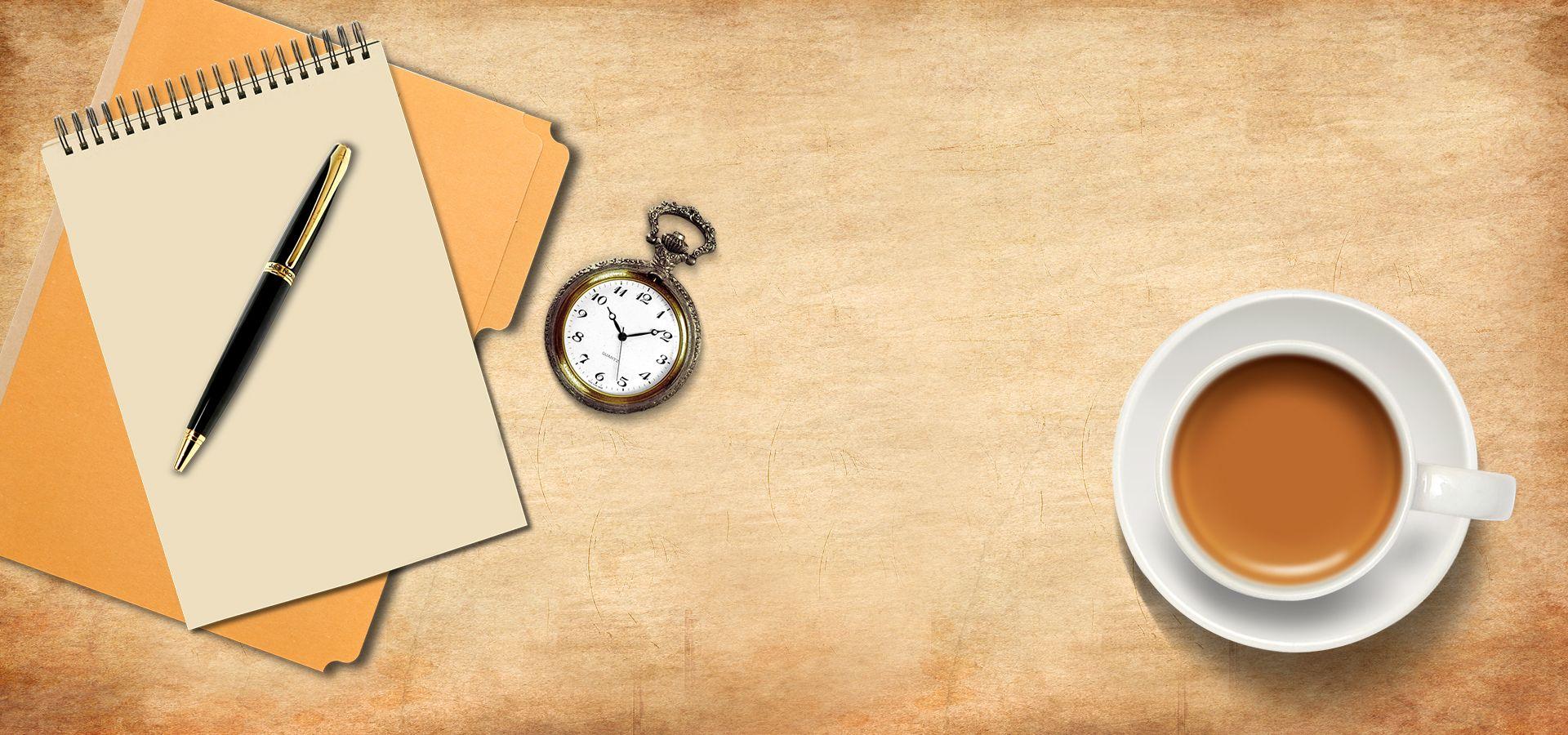 ساعة ساعة ساعة حائط التناظرية على مدار الساعة الخلفية Coffee Poster Glassware Pocket Book