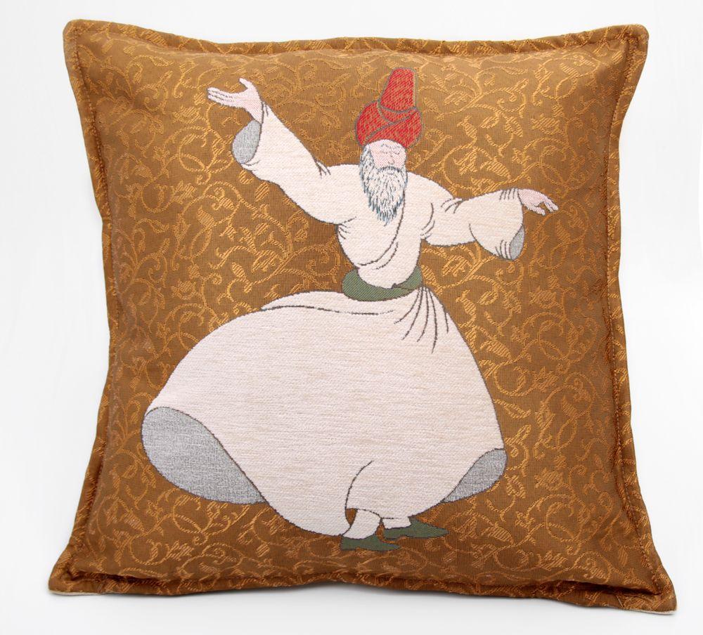 Whirling Dervish Decorative Pillow. Gold foil embellished dervish ...