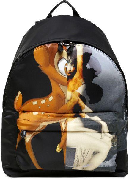 4e98e15d9cf Men's Black Bambi Female Form Print Nylon Backpack   Dark ...