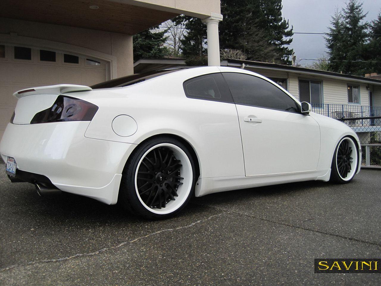 White Infiniti G37 Coupe Black Rims Google Search Car Wheels