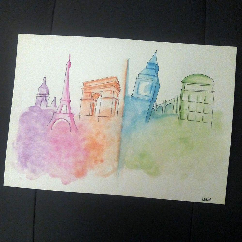 Creation Personnalisee A L Aquarelle Sur Le Theme Paris Et Londres