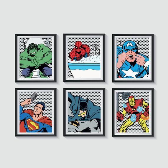 Superhero Bathroom Art Prints Qty 4 Retro Distressed wall ...