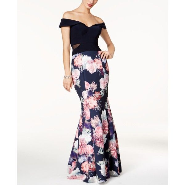 Xscape Off-The-Shoulder Mermaid Gown ($259) ❤ liked on Polyvore ...