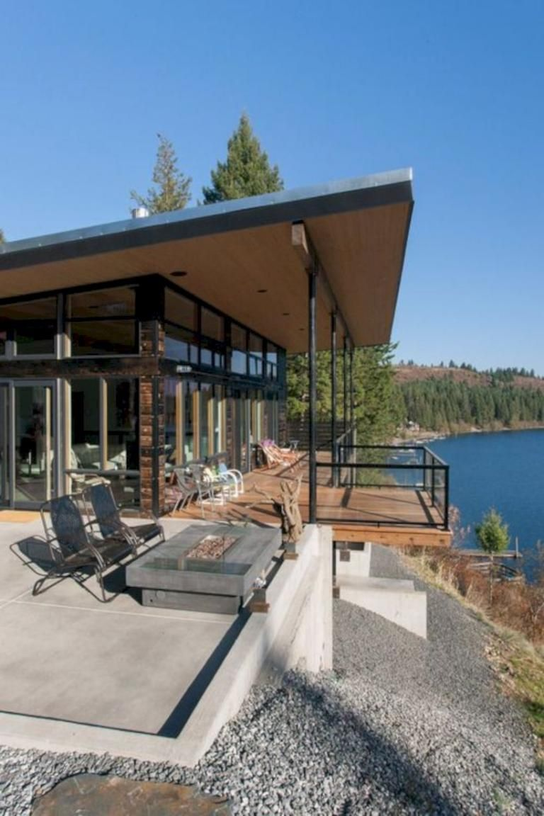 30 Modern Airy Home Design With Awesome Lake Views Modern Lake House Lake Houses Exterior House Exterior