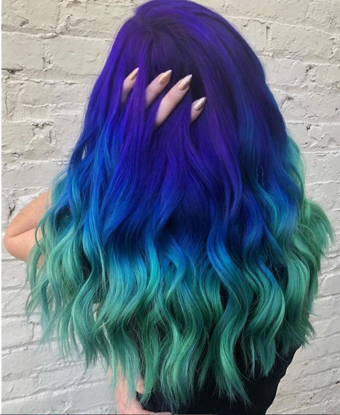 White Background Pink Ombre Hair Purple Dark Blue Green Long Wavy Hair Black Top White Background Pink Ombre H In 2020 Green Hair Colors Bold Hair Color Hair Styles